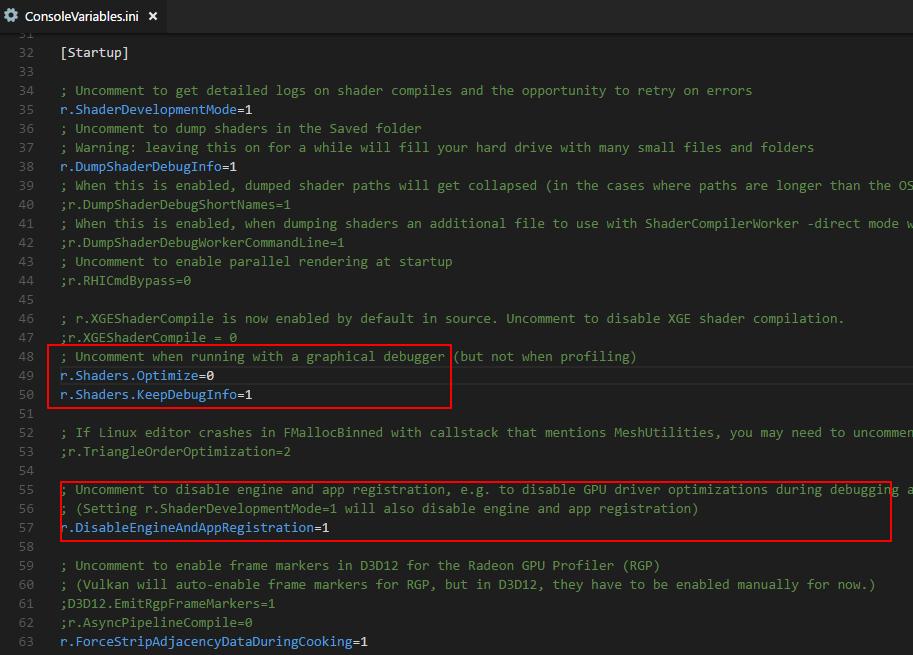 保留HLSL调试信息并关闭HLSL编译器优化